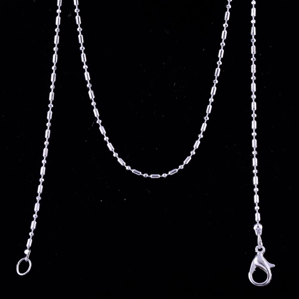 Jewelry Making Chains 24pcs 925 Sterling Silver Plated Cable Chain Necklace 18inch with Lobster Clasp Wholesale Chains Bulk DIY Charm for Jewelry Making Water Wave Chain