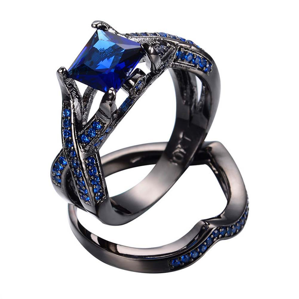 TFR Jewel Vintage Geometric Blue Zircon Crossed Rings Fashion Jewelry for Women Wedding Engagement Rings