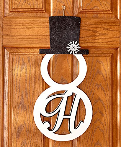 "The Lakeside Collection Monogram ""H"" Snowman Door Hanger"