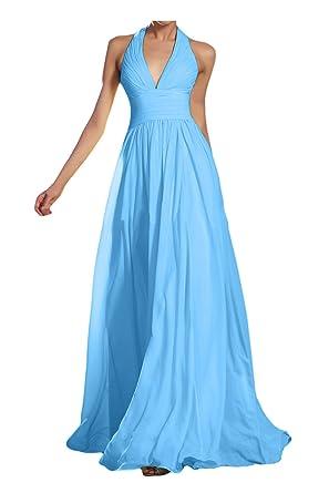 Gorgeous Bride Modisch V-Ausschnitt Neckholder Empire Chiffon Lang  Abendkleid Ballkleid Brautjungfernkleid -32 Blau