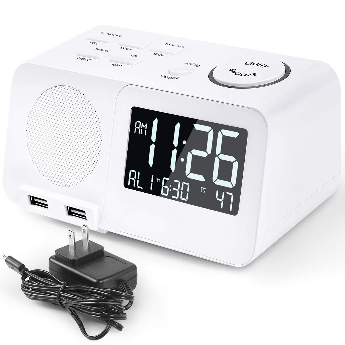 Alarm Clock Radio FM Digital Led Display Radio with USB Port Dimmer Snooze Sleep Timer Dual Alarms for Bedroom (with UL 60950-1 Adapter)