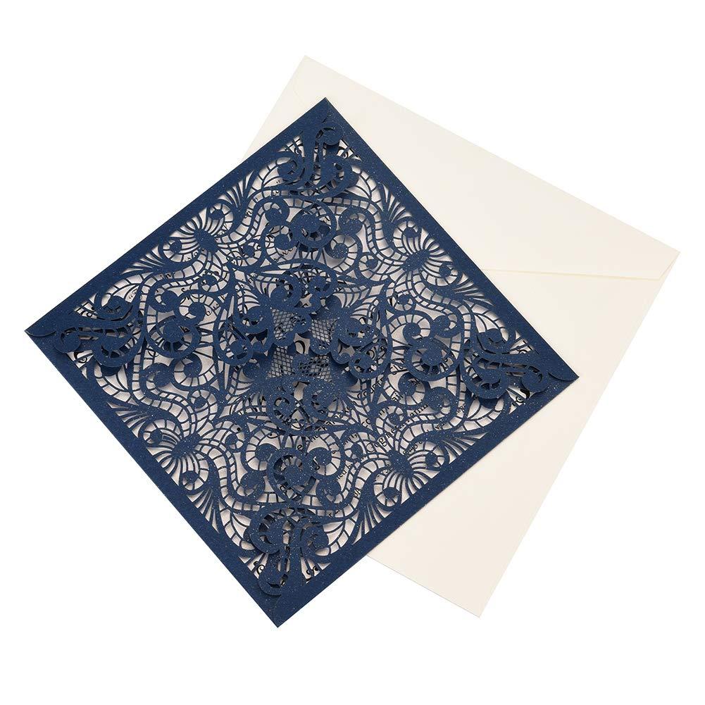 CYSKY Tarjeta de invitaci/ón con corte de encaje con l/áser 50Pcs Kit de tarjeta de invitaci/ón de hueco cuadrado con papel imprimible en blanco y sobres para bodas compromiso cumplea/ños Azul