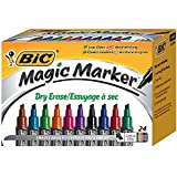 BIC Magic Marker Brand Dry Erase Marker, Tank Style, Chisel Tip, Assorted Colors, 24-Count