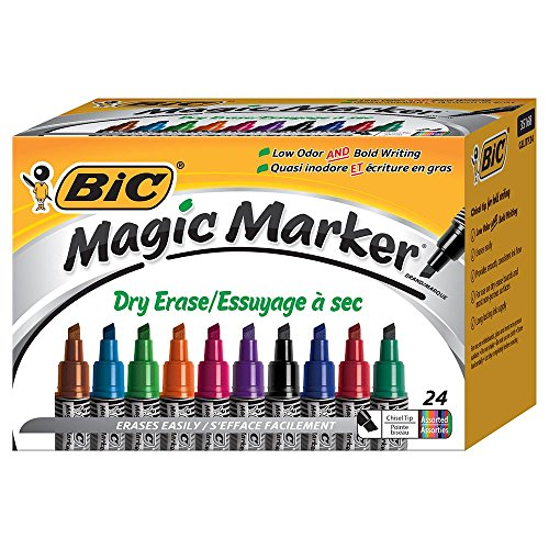 Nice BIC Magic Marker Brand Dry Erase Marker, Tank Style, Chisel Tip, Assorted Colors, 24-Count