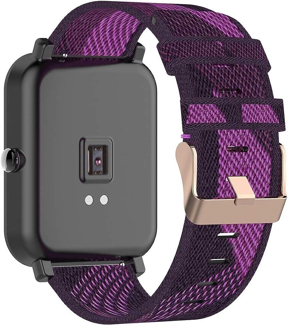 Bracelet Montre,Bracelet Montre Homme 20 mm Stripe Weave Nylon Poignet Bracelet Bande for Huami Amazfit 42mm RTG/GTS/PIF/PIF Lite Bracelet pour Montre Purple