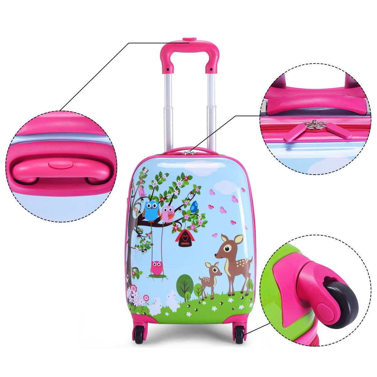 MOREFUN 2 Pcs Kids Travel Luggage Set 18'' Carry on Luggage and 13'' Backpack (Deer) by Morefun Trading (Image #3)