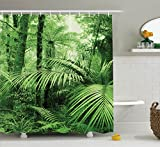 Rainforest Decorations Shower Curtain Set by Ambesonne, Palm Trees and Exotic Plants in Tropical Jungle Wild Nature Zen Theme Illustration, Bathroom Accessories, 84 Inches Extralong, Green