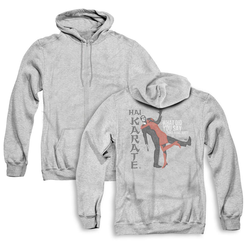 Trevco Hai Karate Name Unisex Adult Zipper Hoodie, Back Print, 3X-Large Athletic Heather by Trevco