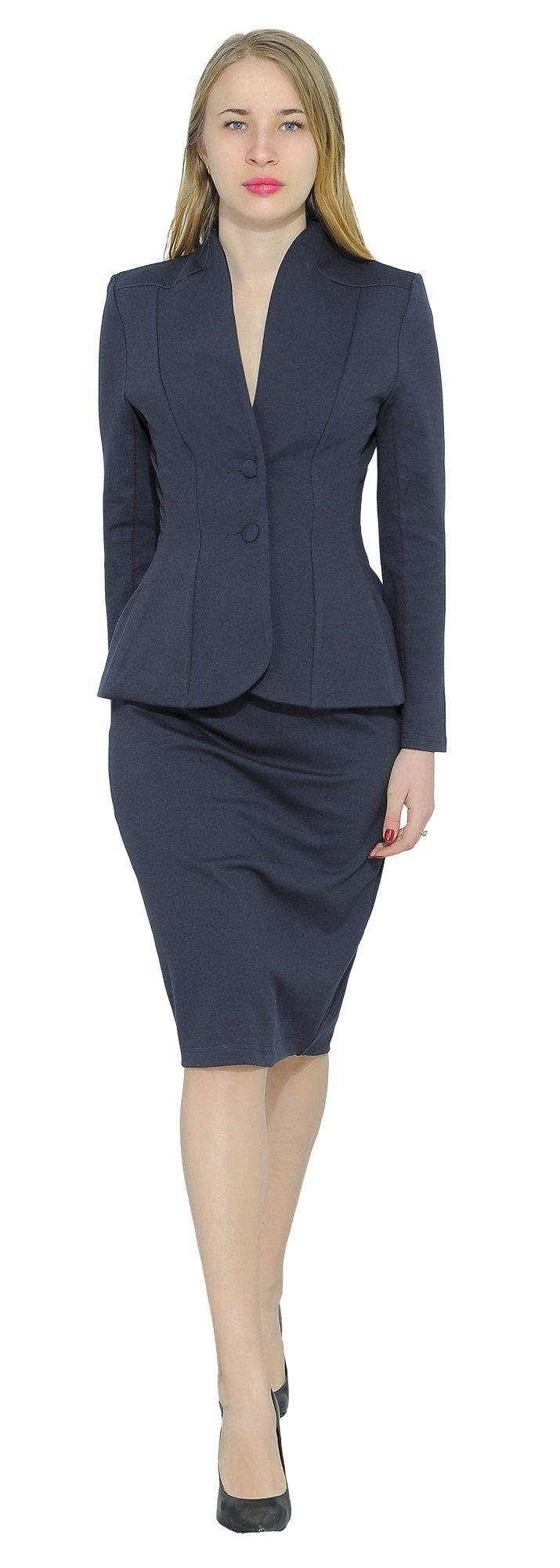 Marycrafts Women's Formal Office Business Work Jacket Skirt Suit Set 12 Dark Blue