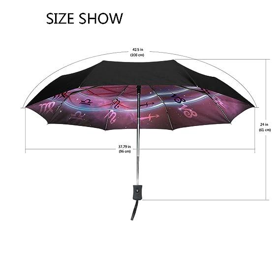 Amazon.com : Imobaby Umbrella Horoscope Wheel Galaxy Zodiac UV Anti Lightweight Parasol Elegant Reverse 3 folding Drop Sturdy Umbrella Special Gifts for ...
