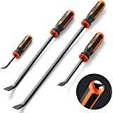 Pry Bar Set, Heavy Duty Pry Bar 4-Piece Mechanic Hand Tools By REXBETI, Thicker Strike Cap Handle, Black Orange