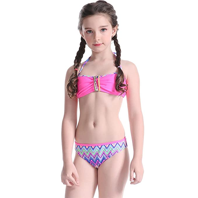 84058c1dec0 Amazon.com: iFANS Girls Tankini Bikini 2 Pieces Swimwear Swimming Bathing  Suit: Clothing