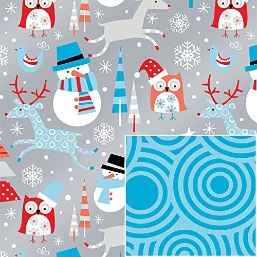 Reversible Metallic Snowman Owls Swirls Reindeer Wrapping Paper - 15 Foot Roll
