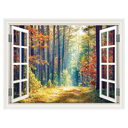 - SUMGAR 3D Wall Mural Woodland Autumn Window Views Wall Art Self Stick Decals for No Window Rooms,48x36 inch