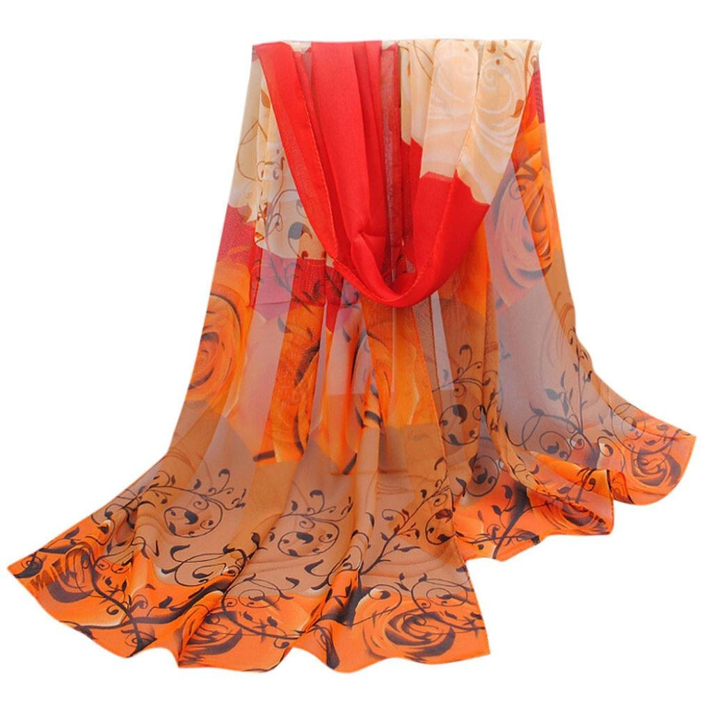 Perman Fashion Women Beautiful Rose Pattern Chiffon Shawl Wrap Stole Scarf Scarves (Orange)