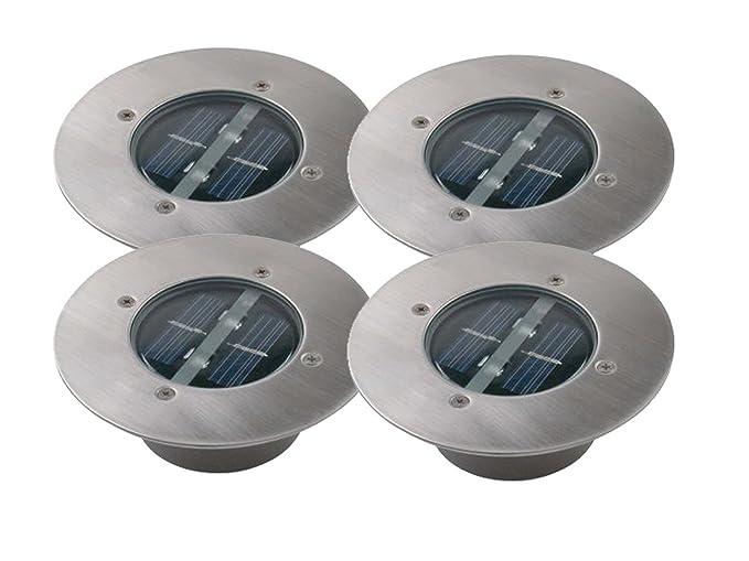 4P-juego de solar LED empotrable en el suelo foco de Lugo, redonda,