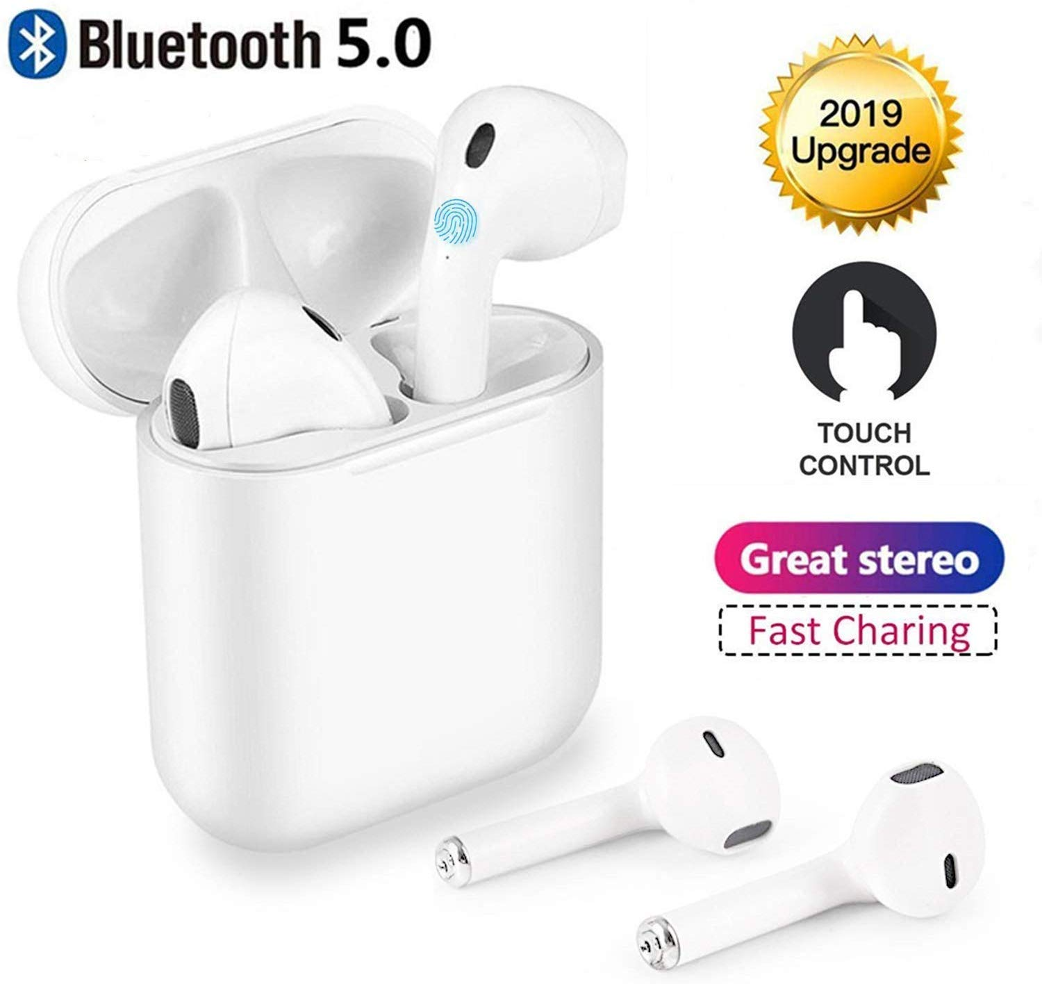 Wireless Earbuds – Bluetooth 5.0 Stereo Noise Canceling Headphones with Deep Bass, Built-in Microphone, in-ear Headphones with Charging Box Compatible iOS Airpods iphone Samsung Android