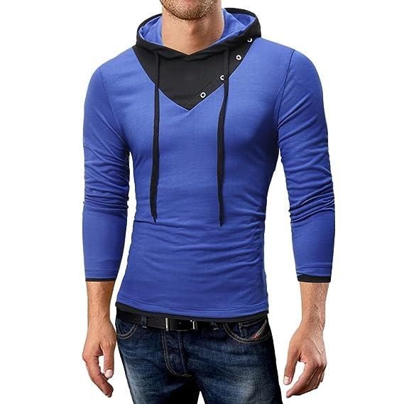 Resplend Blusa Superior de Manga Larga con Cuello en V para Hombres con Cuello Redondo