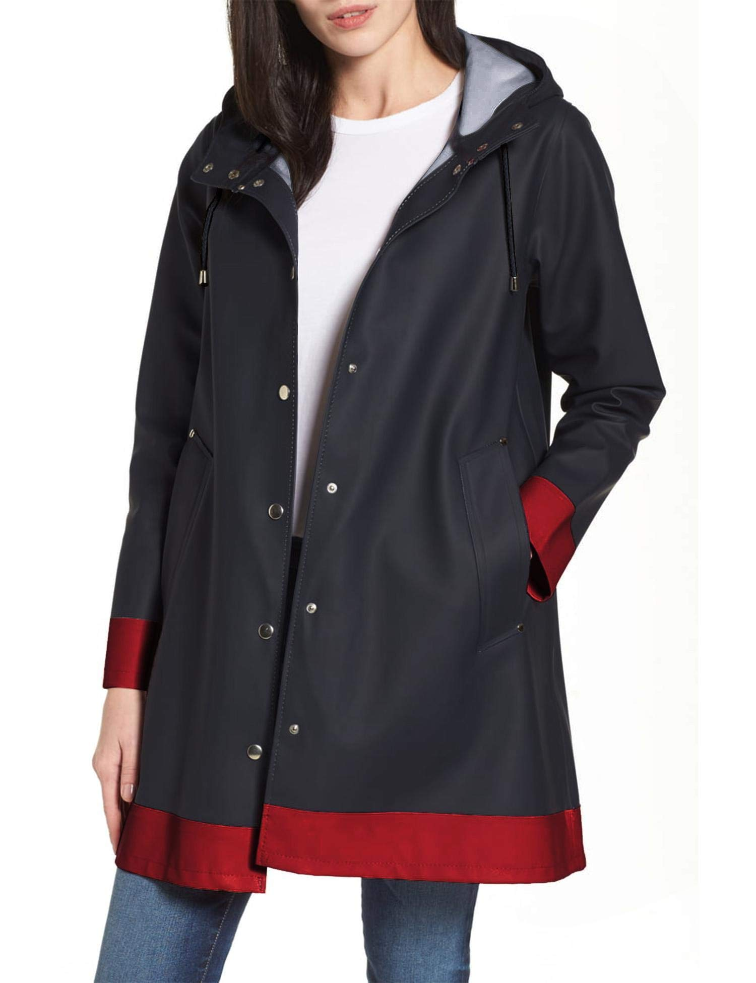 SUNAELIA Women Hooded Raincoat Waterproof Rain Jacket Women's Trench Coats Navy Blue by SUNAELIA