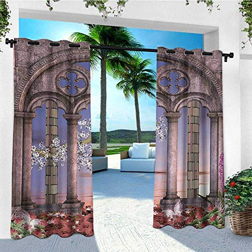 leinuoyi Gothic, Outdoor Curtain Extra Wide, Ancient Colonnade in Secret Garden with Flowers at Sunset Enchanted Forest, for Pergola W120 x L96 Inch Grey Blue Lilac ()