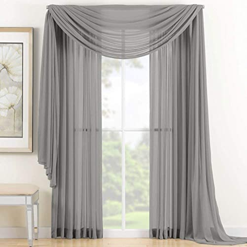 NK Linen Collections Window Sheer Curtains Scarf Valance Solid Colors Soft Sheer Panels Voile Window Topper Swag Panel Curtain Scarf 37″ x 216″