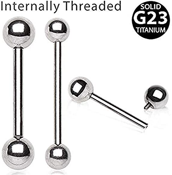 14GA, Length: 1/&1//2, Ball Size: 5mm Covet Jewelry Black PVD Plated 316L Surgical Steel Barbell with Two Balls