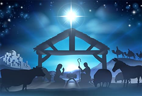Christmas Stable Background.Lfeey 9x6ft Birth Of Jesus Backdrop Christmas Night Manger Nativity Scene Silhouette Background Farm Barn Stable Christianity Photography Prop Studio