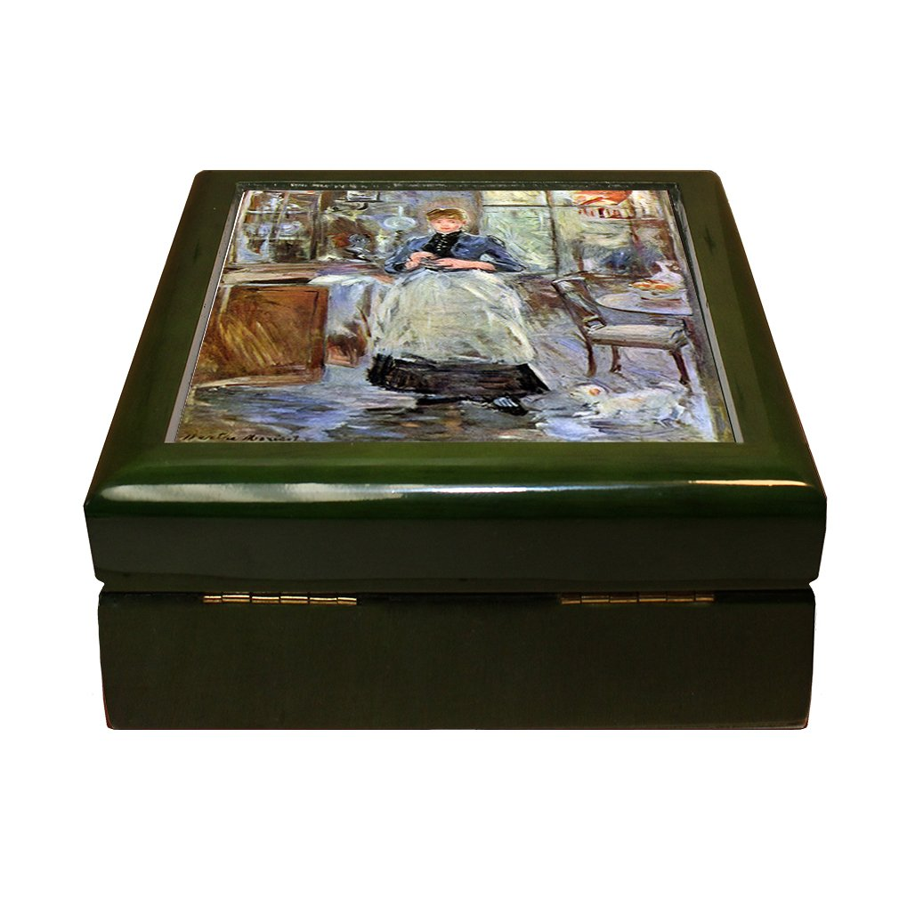 Style in Print In Dining Room (Morisot) 4''x4'' Jewelry Box Ceramic Tile Green Frame