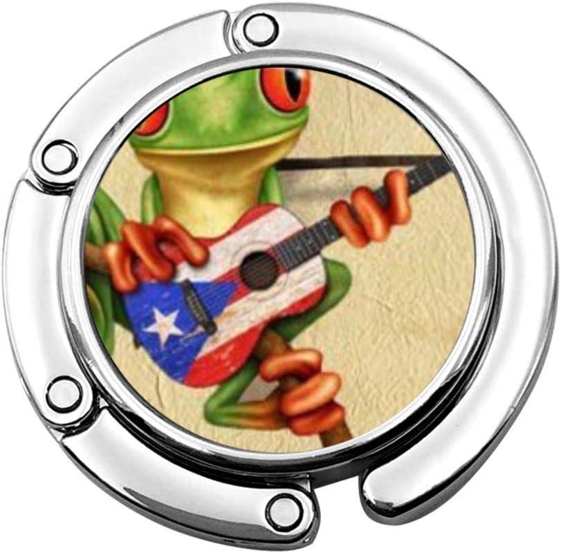 Lindo Plegable Monedero Percha Gancho Monedero Especial Rana arbórea Jugar Puerto Rico Bandera Guitarra