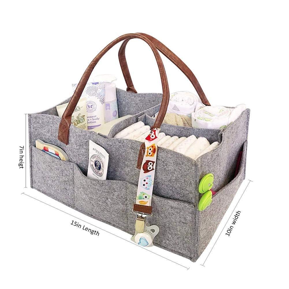 Windel-Caddy Bag Faltbare Tragbar Windeln Korb Kinderwagen Organizer Filztasche fü r Auto Reise (grau 1) WOFALEGOGO