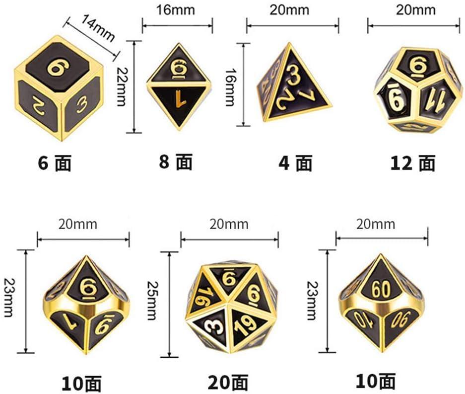 E-HONER New Metal Dice 7pcs Set Dadi Rpg D/&D Gioco da Tavolo Puntelli magici D4 D6 D8 D10 D12 D20