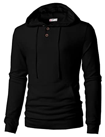 22197134 H2H Mens Casual Hoodie Button-up Jacket Hooded Sweatshirt Black US S/Asia M