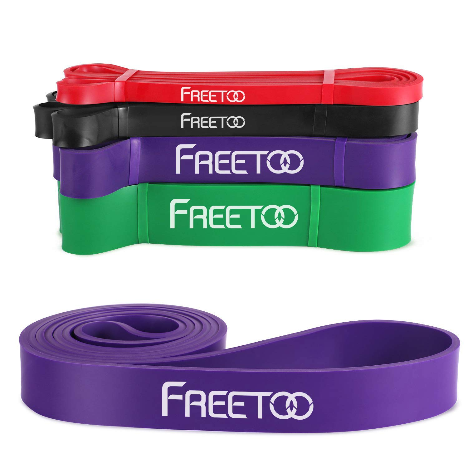 FREETOO Pull Up Assist Bands -Workout Resistance Bands for Body Stretching, Exercise Bands with 100% Natural Latex Stretch Bands for Pilates,Resistance Training,Cross Fitness,Yoga and Home Fitness by FREETOO