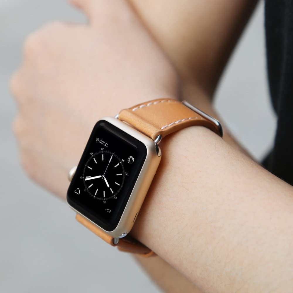 Genuine Leather Replacement Band Compatible with Apple Watch Series