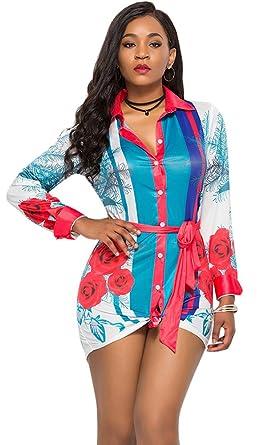 lexiart Button Down Shirtdress Collared Graphic African Dashiki 2018 red  White S eb901497c