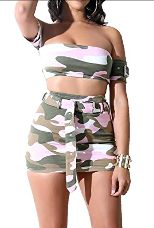 e0ee29e38ab90 Jotebriyo Women Sexy Camouflage Print Club Strapless Crop Top & Bodycon  Mini Skirt with Belt Outfit