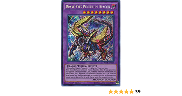 Yugioh Secret Rare Brave-Eyes Pendulum Dragon RATE-EN039 1st Edition
