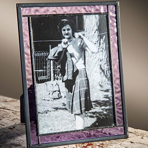 J Devlin Pic 369-57HV 5x7 Picture Frame Purple Stained Glass Photo Easel - Frame Purple