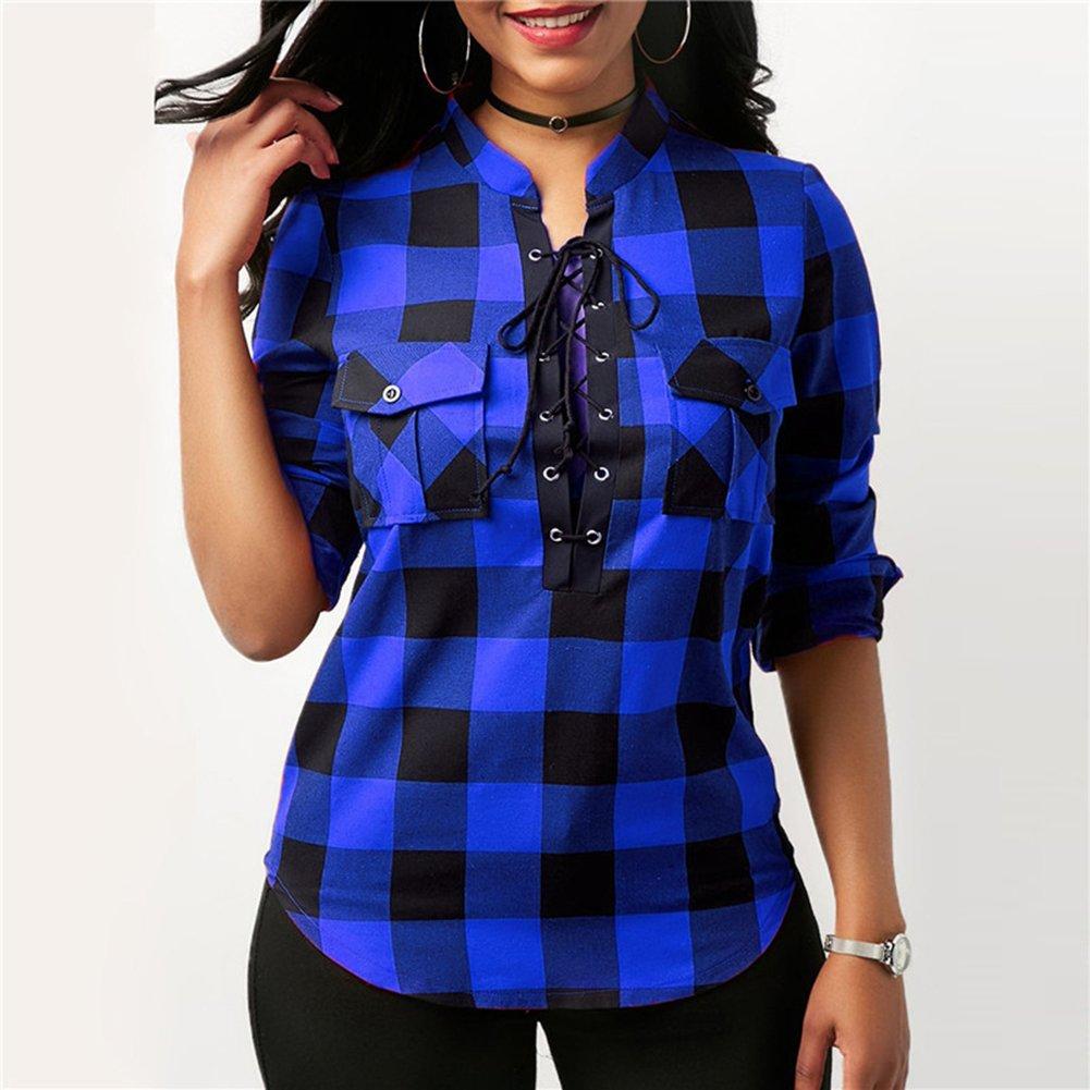 3976fce0df4c5 Hibote Mujer Blusa Camisa a Cuadros Mujeres Blusas Camisetas de Manga Larga  con Cuello en V Camisas Casual Checker Plaid Shirt  Amazon.es  Ropa y  accesorios
