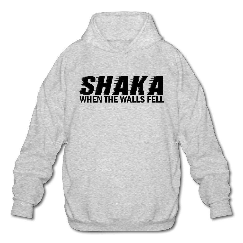 Mens Shaka When The Walls Fell Long Sleeve Hooded Sweatshirt Ash
