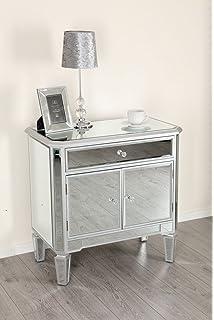 Abreo Mirrored Silver Trim 1 Drawer 2 Door Storage Cabinet Living Room  Hallway Mirror Furniture