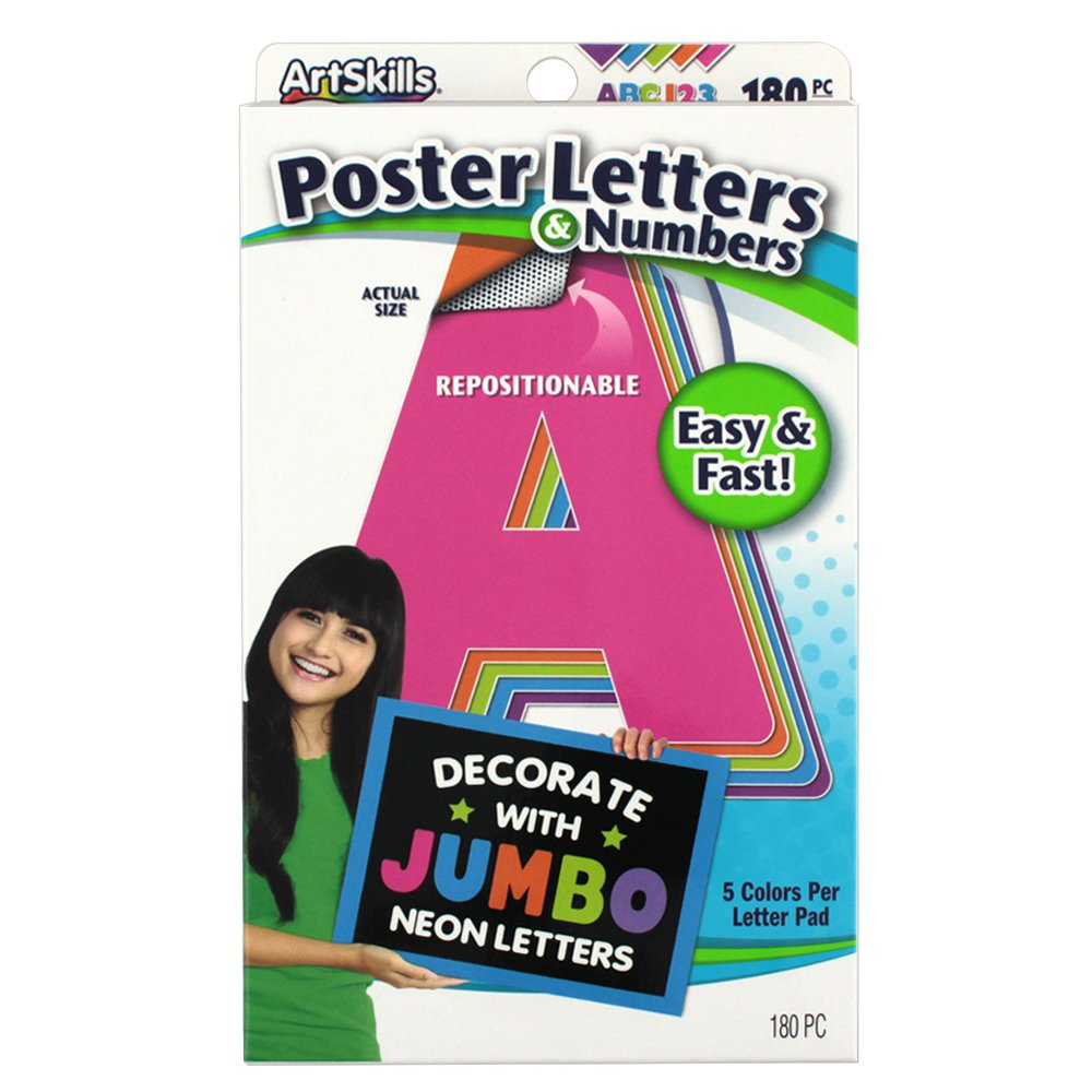 Amazon.com : ArtSkills Jumbo Poster Letters and Numbers, A-Z and 0-9 ...