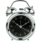 PHOEWON 目覚まし時計 置き時計 子供 大音量 ツインベル 時計 スヌーズ目覚まし時計 静かな 明るい (ブラック)