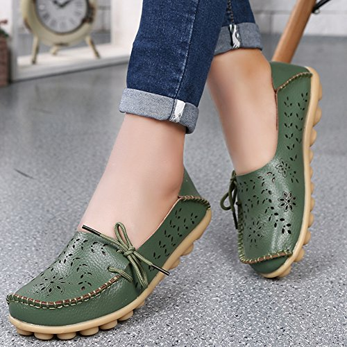 Hecater Womens Casual Cut Out Cowhide Leather Loafer Flat Shoes Test TEST Armygreen IGrnYzigg