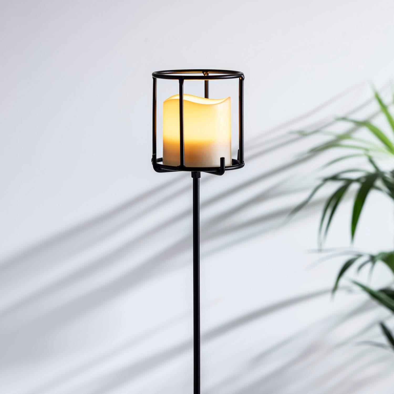 Lights4fun Metall Fackel 115cm hoch inkl LED Kerze batteriebetrieben Timer Au/ßen