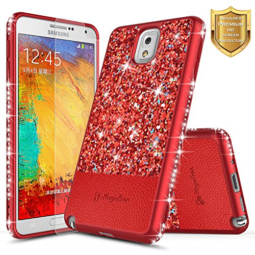 Galaxy Note 3 Case w/ [Screen Protector HD Clear], NageBee Shiny Diamond Glitter Bling Crystal Super Slim Protective Soft TPU Leather Hybrid Case for Samsung Galaxy Note 3 Note III N9000 (Red) Red Crystal Case