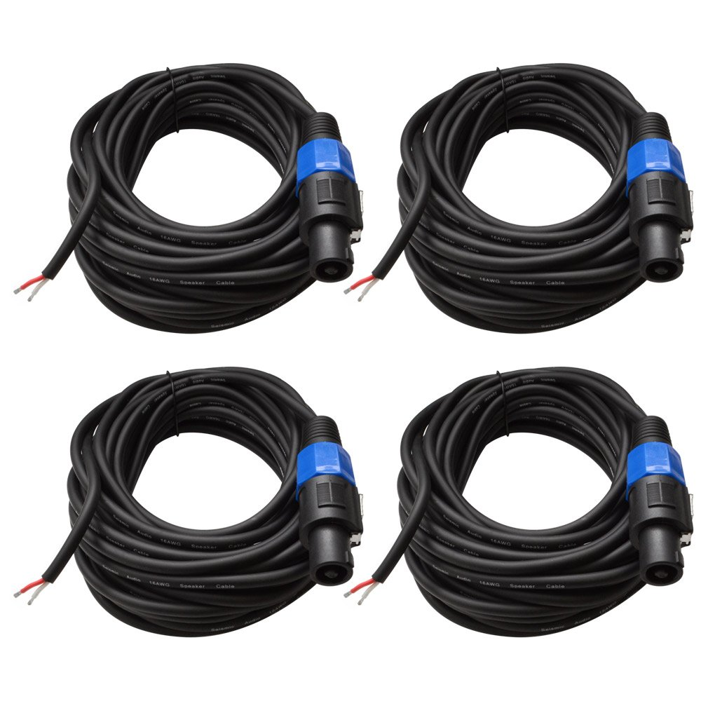 Seismic Audio - SPRW50 (4 Pack) - 50 Foot Raw Wire to Speakon Speaker Cable - 16 Guage - PA/DJ/Home Audio