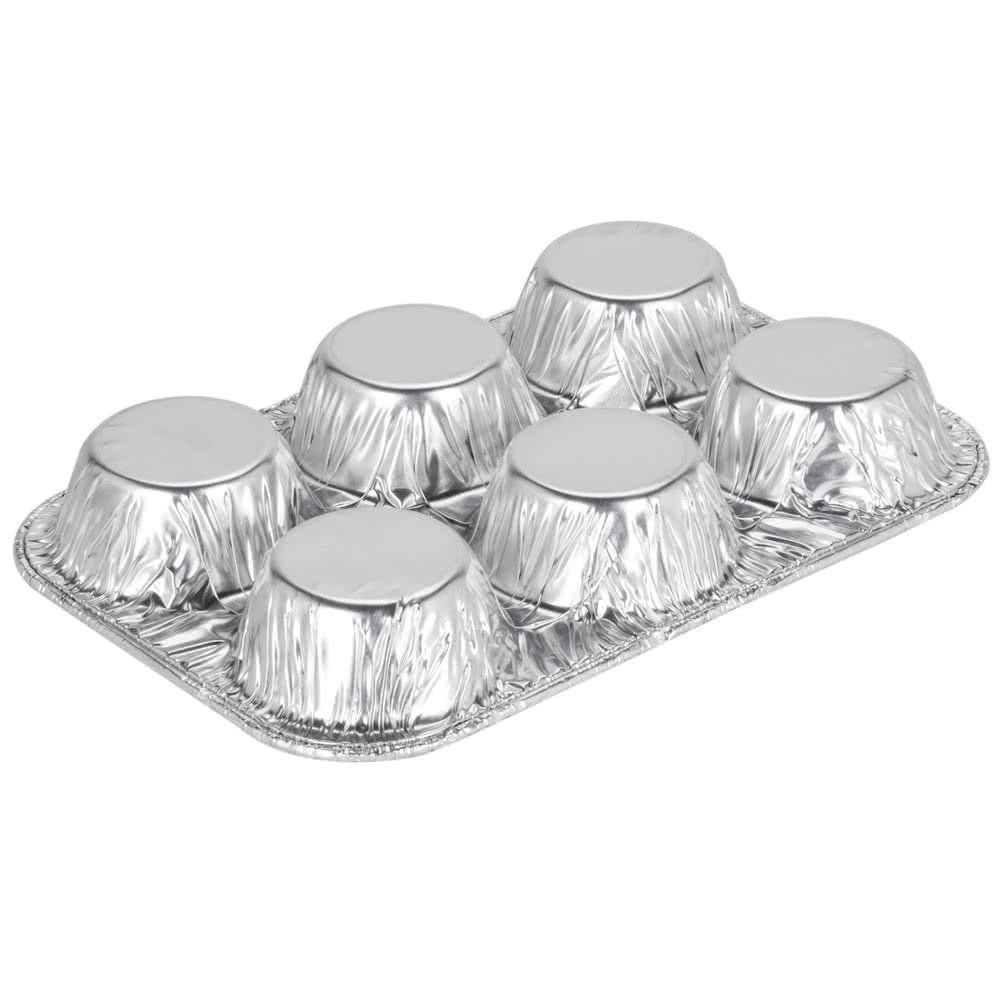 Pack of 20 Silver Foil Muffin Pans – Durable & Non-Stick Disposable Aluminum 6-Cup Cupcake Trays – Perfect Tin Size for Cupcakes, Mini Pies, Mini Quiche, Soufflé - Standard Size by DCS Deals (Image #3)
