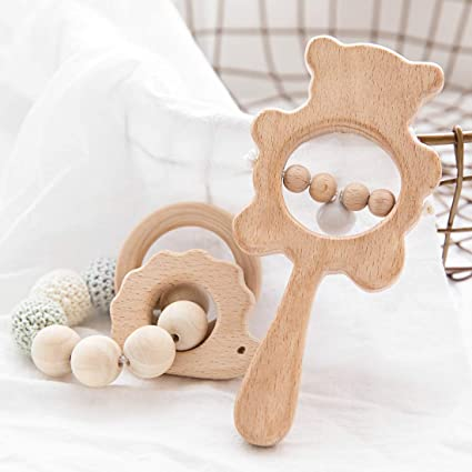 Montessori Wooden Rattle Teether Baby Grasping Teething Developmental Toys