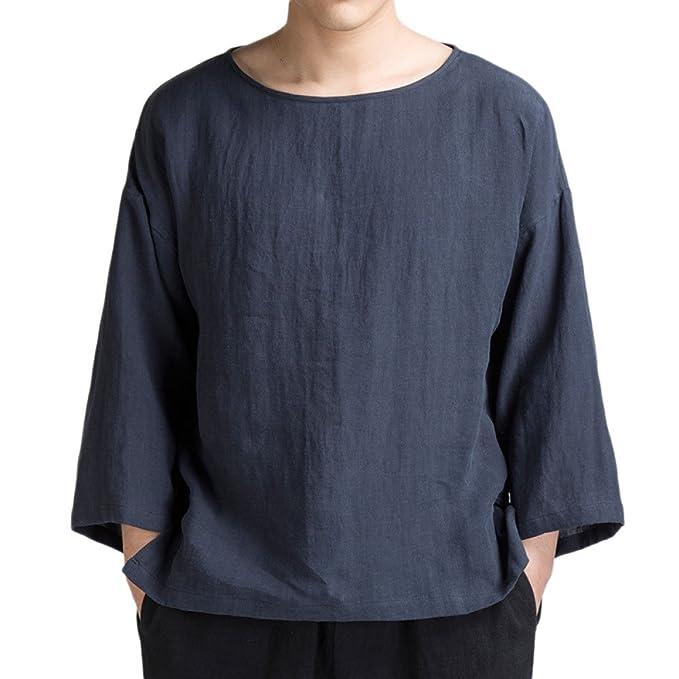 Camisetas Para Hombres Camisetas De Algodón Y Lino De Estilo Chino Con Mangas Cortas De Manga